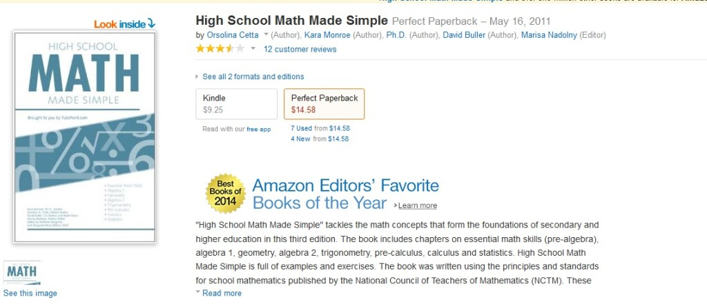 High School Math Made Simple wins Amazon Editors award