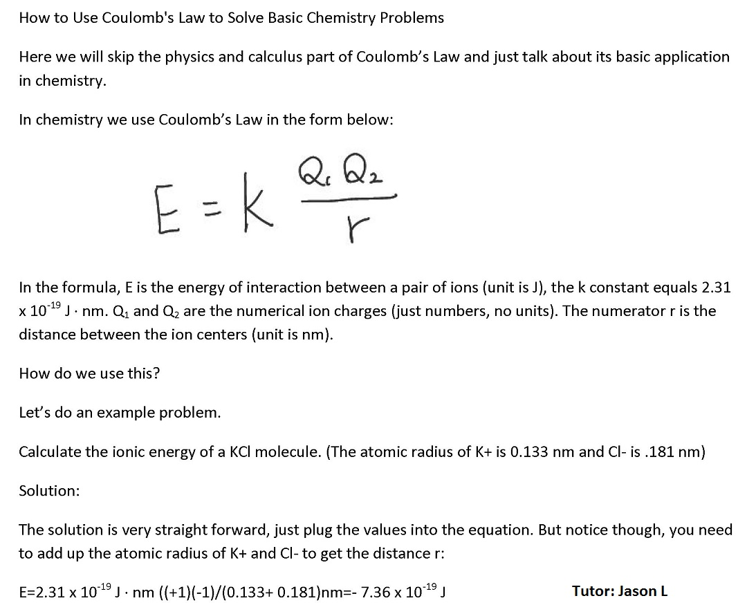 chemistry problem solver chemistry homework help online  how to use coulomb s law to solve basic chemistry problems