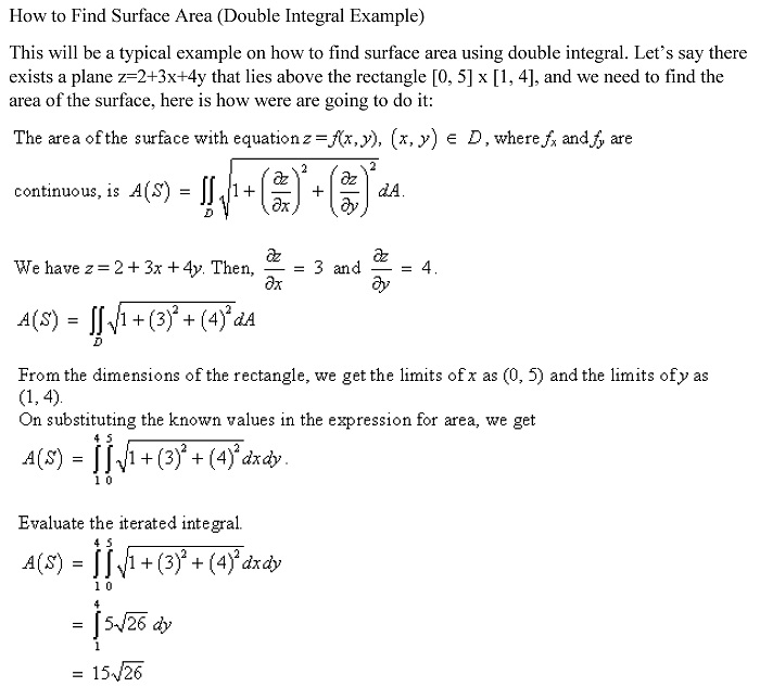 How to find surface area double integral example ccuart Image collections