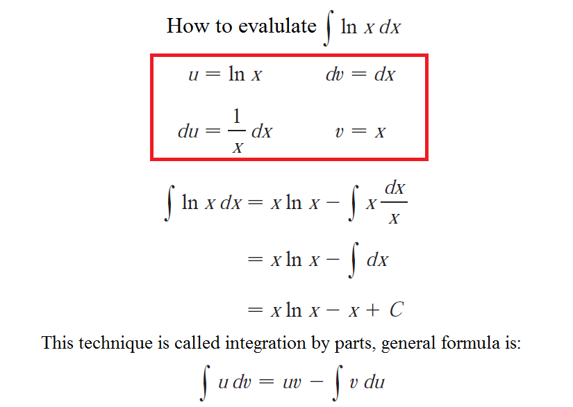 How to do integral of ln (x)