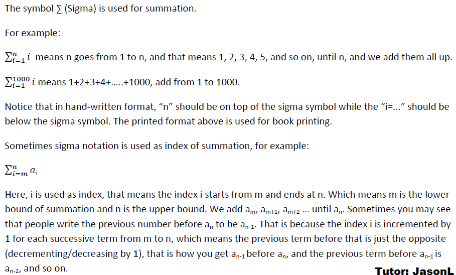 How To Use Sigma Notation