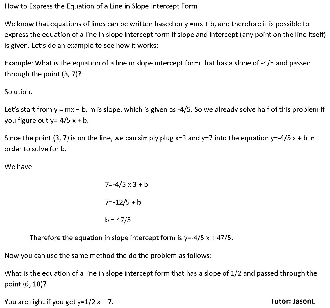 How To Express The Equation Of A Line In Slope Intercept Form