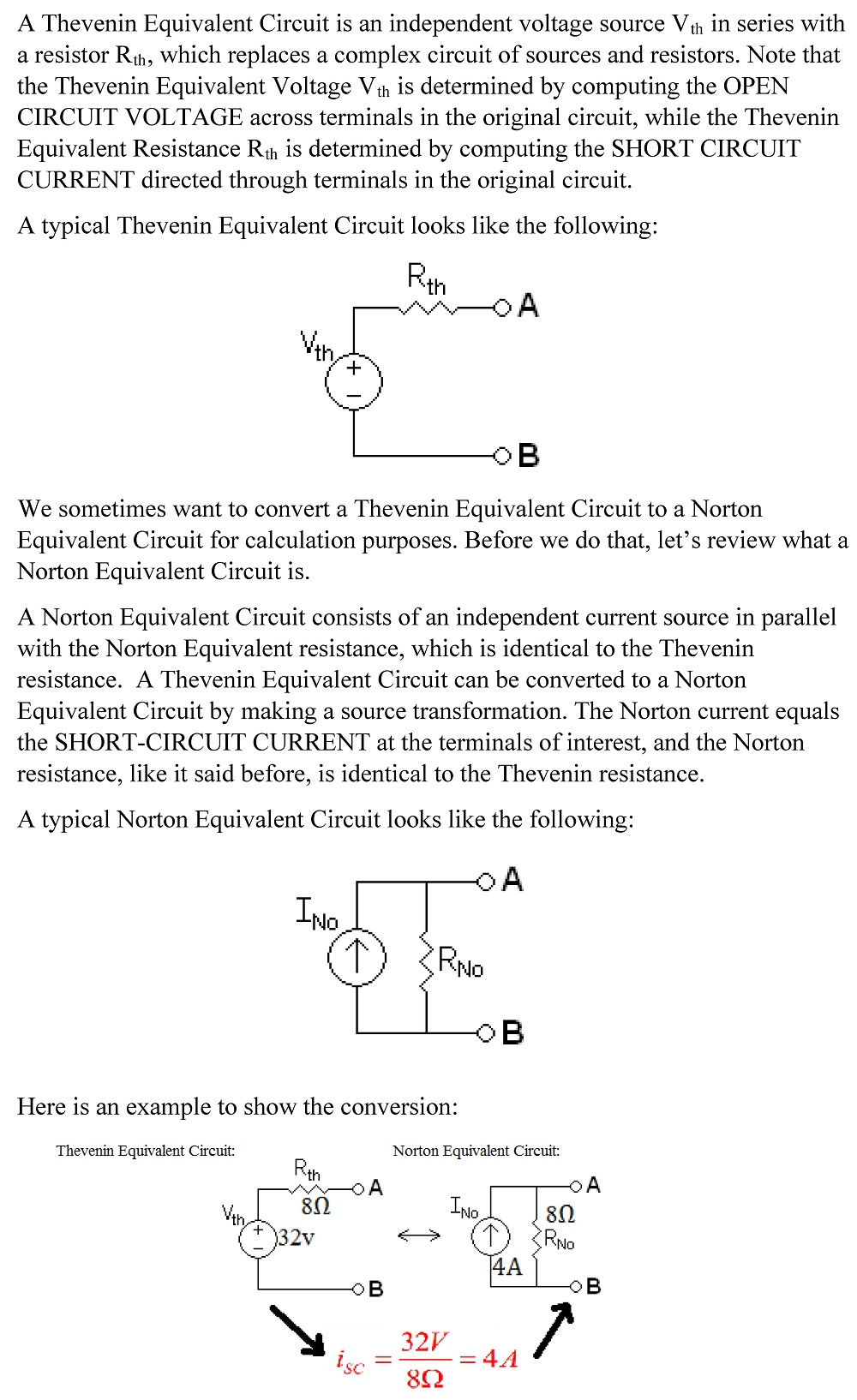 How To Perform Thevenin Norton Equivalent Circuit Conversion Example Printing